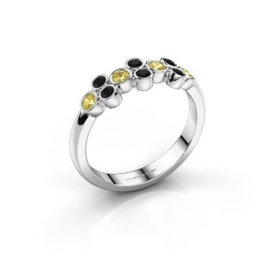 Ring Kayleigh 585 white gold yellow sapphire 2.4 mm