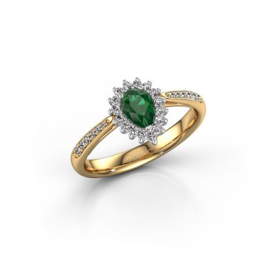 Engagement ring Tilly per 2 585 gold emerald 6x4 mm