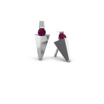Picture of Earrings Corina 950 platinum rhodolite 3 mm