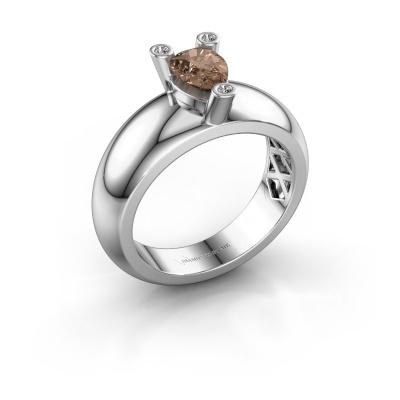 Ring Cornelia Pear 925 silver brown diamond 0.65 crt