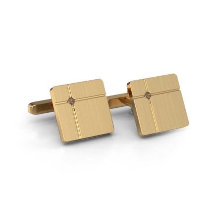 Foto van Manchetknopen Hilco 375 goud bruine diamant 0.06 crt