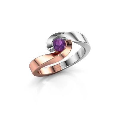 Foto van Ring Sheryl 585 rosé goud amethist 4 mm