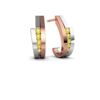 Oorbellen Cato 585 rosé goud gele saffier 2.2 mm