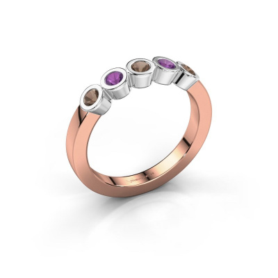 Ring Nova 585 rose gold smokey quartz 3 mm