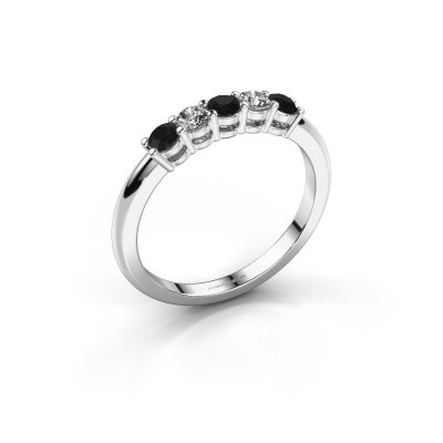 Picture of Promise ring Michelle 5 585 white gold black diamond 0.448 crt