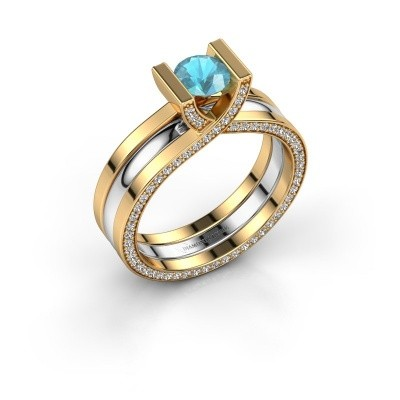 Foto van Ring Kenisha 585 goud blauw topaas 5 mm