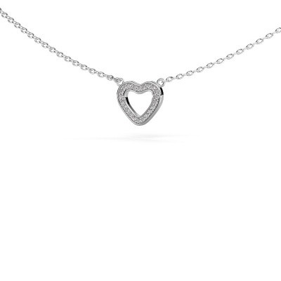 Hanger Heart 4 585 witgoud zirkonia 0.8 mm