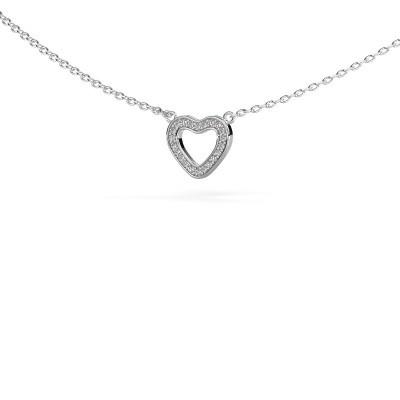 Pendentif Heart 4 585 or blanc zircone 0.8 mm