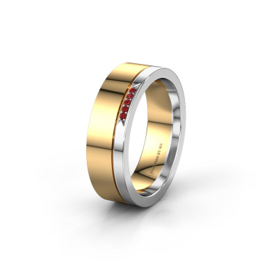 Huwelijksring WH0336L16A 585 goud robijn ±6x1.7 mm