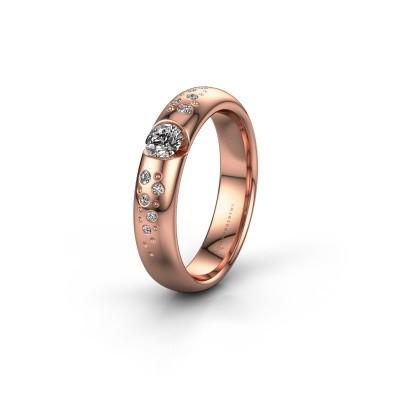 Trouwring WH2104L34A 375 rosé goud diamant ±4,5x1.7 mm
