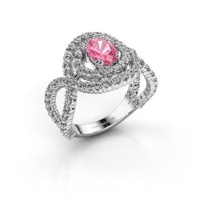 Ring Chau 950 platina roze saffier 7x5 mm