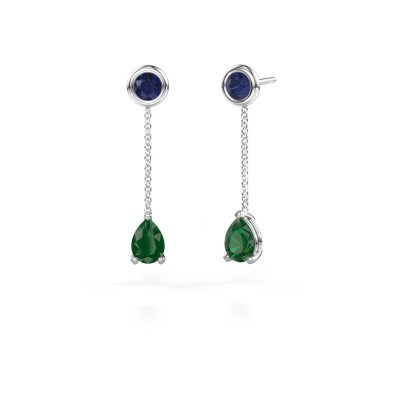 Picture of Drop earrings Laurie 3 585 white gold emerald 7x5 mm