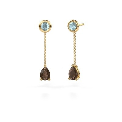 Picture of Drop earrings Laurie 3 375 gold smokey quartz 7x5 mm