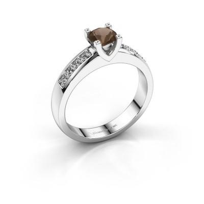 Verlovingsring Isabella 2 925 zilver rookkwarts 5 mm