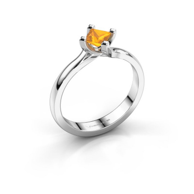 Engagement ring Dewi Square 585 white gold citrin 4 mm