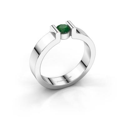 Verlovingsring Isabel 1 585 witgoud smaragd 4 mm