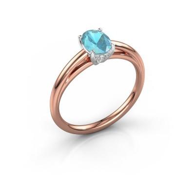 Verlobungsring Haley OVL 1 585 Roségold Blau Topas 7x5 mm