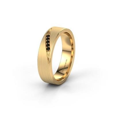 Wedding ring WH2148L25AM 375 gold black diamond ±0.20x0.07 in