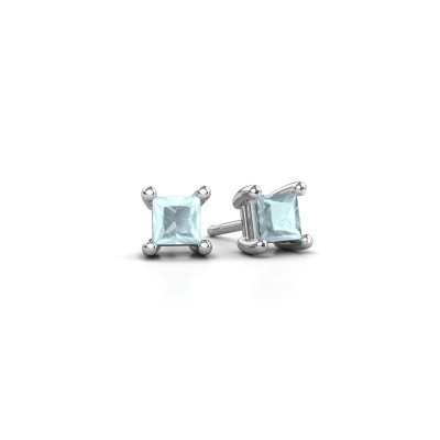 Picture of Stud earrings Sam square 925 silver aquamarine 4 mm