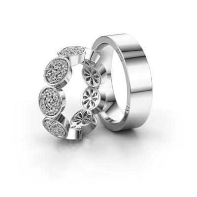 Foto van Trouwringen set WHR0082LM16BP ±6x2.6 mm 14 karaat witgoud diamant 0.008 crt