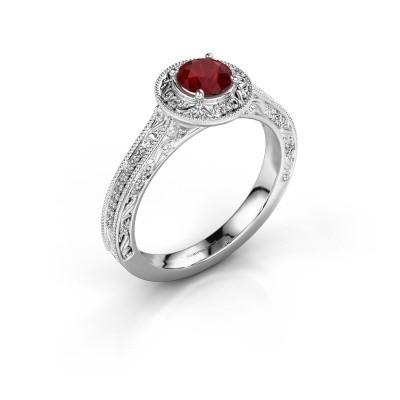 Verlovings ring Alice RND 950 platina robijn 5 mm