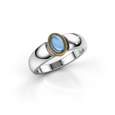 Bague Tonneke 585 or blanc topaze bleue 6x4 mm