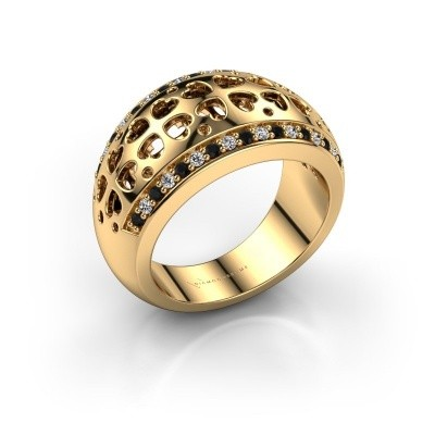 Ring Tirza 375 goud zwarte diamant 0.376 crt