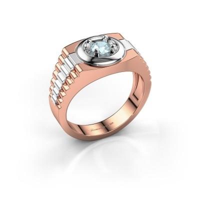 Foto van Heren ring Edward 585 rosé goud aquamarijn 4.7 mm
