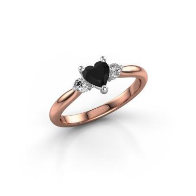 Foto van Verlovingsring Lieselot HRT 585 rosé goud zwarte diamant 0.71 crt