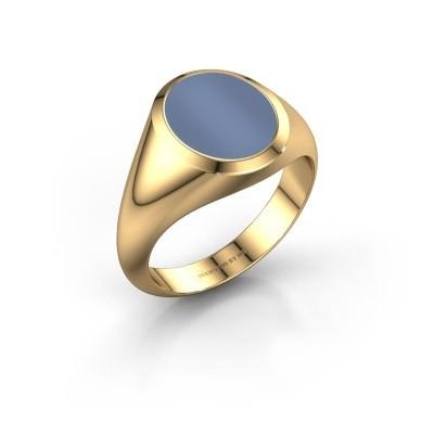 Zegelring Herman 2 F 585 goud licht blauwe lagensteen 12x10 mm