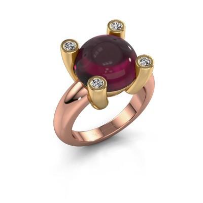Ring Janice RND 585 rosé goud rhodoliet 12 mm