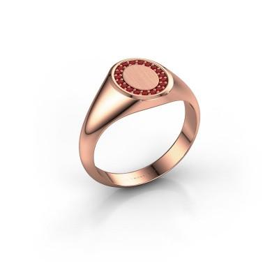 Foto van Zegelring Rosy Oval 1 375 rosé goud robijn 1.2 mm