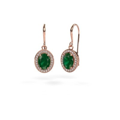 Picture of Drop earrings Latesha 375 rose gold emerald 8x6 mm