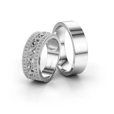 Bild von Eheringe set WHR0401LM16AP ±8x2 mm 14 Karat Weissgold Diamant 0.10 crt