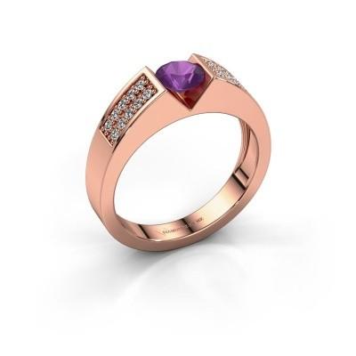 Verlovingsring Lizzy 3 375 rosé goud amethist 5 mm