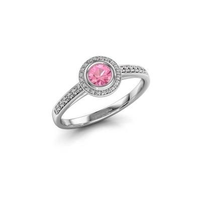 Verlovingsring Noud 2 RND 950 platina roze saffier 4 mm