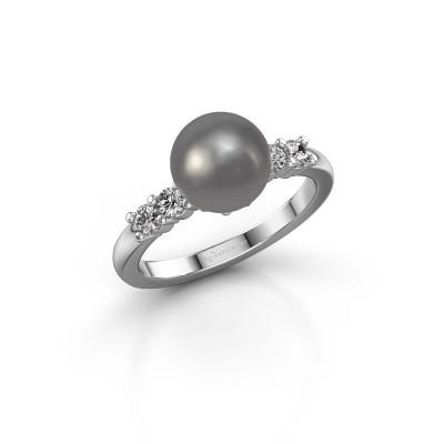 Foto van Ring Cecile 925 zilver grijze parel 8 mm