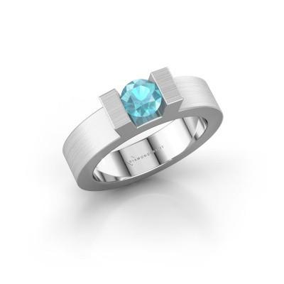 Foto van Ring Leena 1 585 witgoud blauw topaas 5 mm