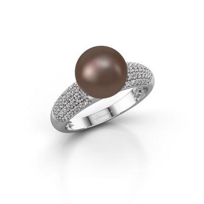 Bild von Ring Anisa 375 Weißgold Braun Perl 9 mm