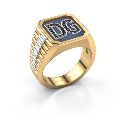 Signet ring Mike 585 gold black diamond 0.006 crt