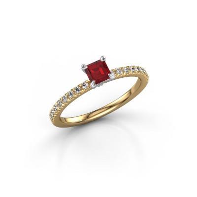Verlobungsring Crystal ASS 2 585 Gold Rubin 4.5 mm