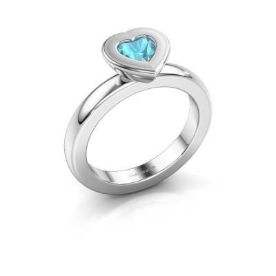 Stapelring Eloise Heart 585 witgoud blauw topaas 5 mm