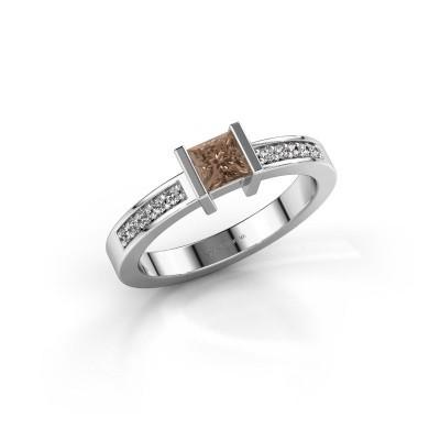 Engagement ring Jordan 950 platinum brown diamond 0.40 crt
