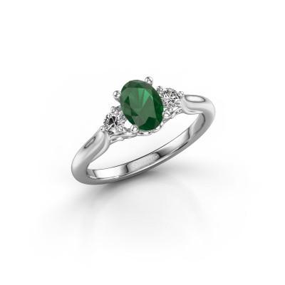 Foto van Verlovingsring Laurian OVL 950 platina smaragd 7x5 mm