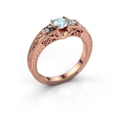 Foto van Promise ring Tasia 375 rosé goud aquamarijn 5 mm