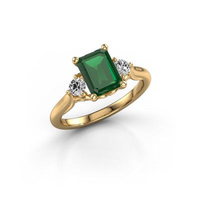 Picture of Engagement ring Laurian EME 585 gold emerald 8x6 mm