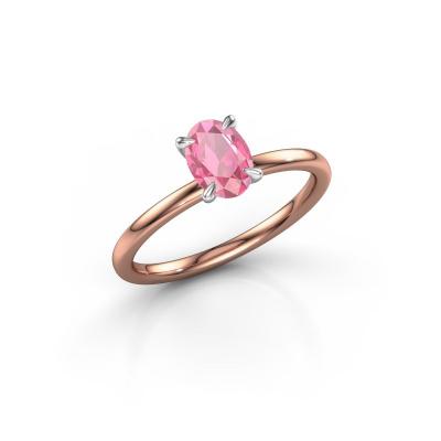 Foto van Verlovingsring Crystal OVL 1 585 rosé goud roze saffier 7x5 mm