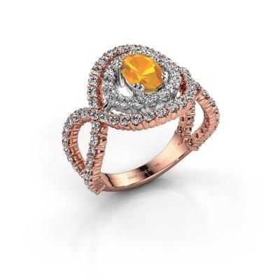 Ring Chau 585 rosé goud citrien 7x5 mm