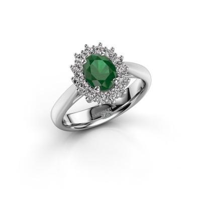 Foto van Verlovingsring Margien 1 925 zilver smaragd 7x5 mm