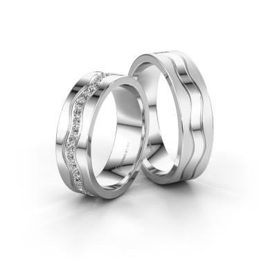 Foto van Trouwringen set WH0803LM16AMP ±6x1.7 mm 14 karaat witgoud diamant 0.01 crt